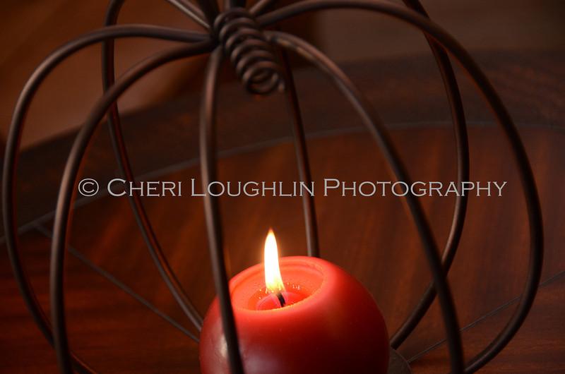 Wire Pumpkin Candle 1