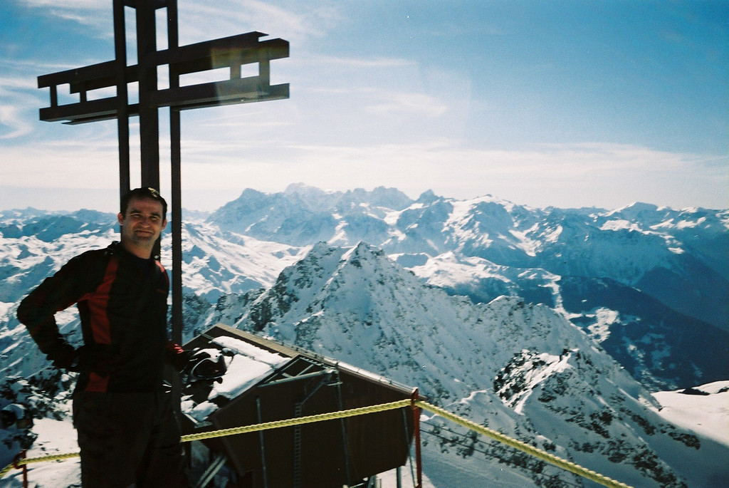 Day 2 010 Mike Top of Verbier Mont Blanc Behind