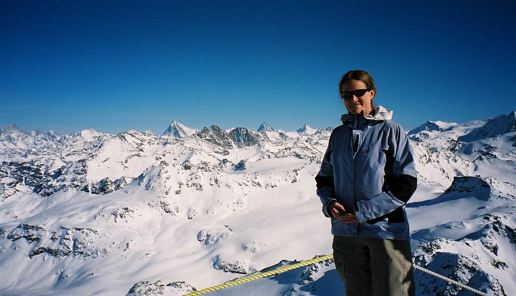 Day 2 009 Sarah Top of Verbier Matterhorn Behind