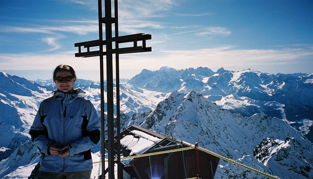 Day 2 008 Sarah Top of Verbier Mont Blanc Behind