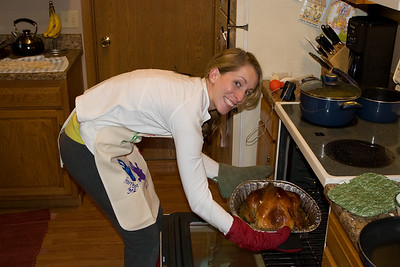 Checking on the turkey