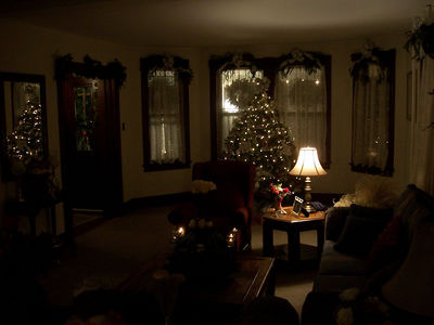 The living room, and the Christmas Tree.