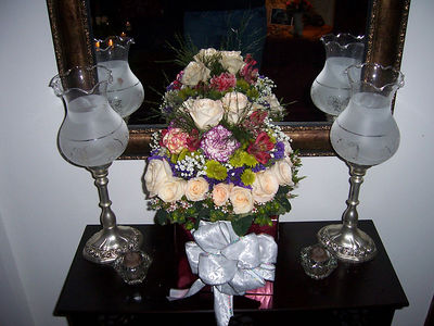 An accent table (those are real flowers).