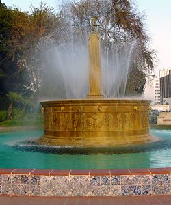Heritage Fountain at intersection of Wilshire and Santa Monica Blvds.