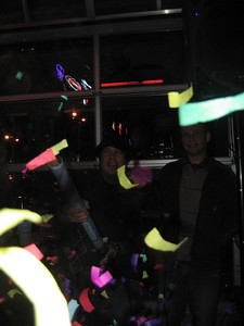 Celebrating the New Year at Lew's Bar and Grill - DJ Buff and his buddy Kevin signal the new year with a confetti blast!