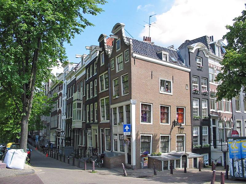 wonky houses on a corner
