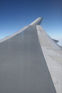 Looking out along the wing of a BA B747