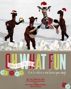 Hoopy Holidaze Everybody! Giraffes Are US! Hoping whatever you happen to be celebrating is GRAND, & Let's HOPE for a More Saner, PEACEFUL PLANET! HOOPY NEW YEAR!!! Peace, Love, & Hugs, Joel, Linda & Coppelia