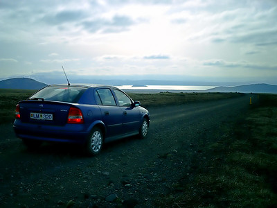 Our hire car on one of Iceland's unmetalled main roads