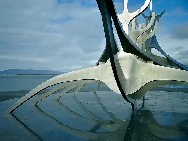 Sólfar, the sun voyager looks across the bay in Reykjavík.