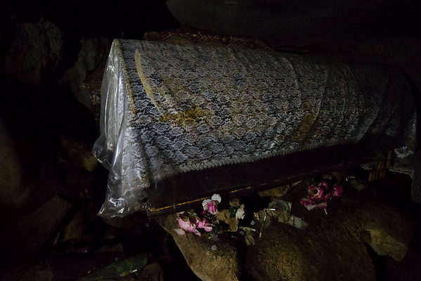Recent coffin that was brought in the cave.