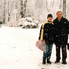 Majka and her dad in the snow