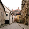 Old Bratislava cobbled street with the castle in the background