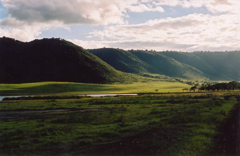 View from inside the Ngorongoro crater towards our hotel