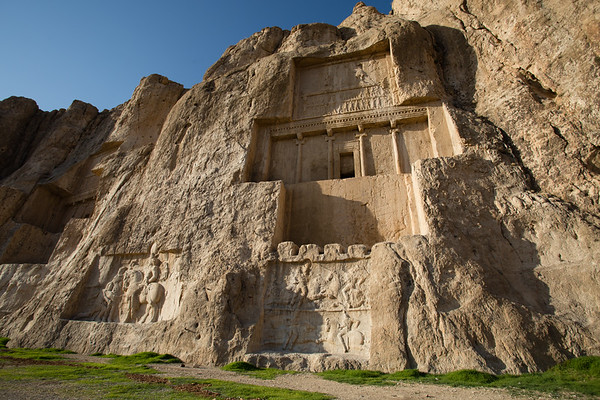 Below the tomb of Darius the Great are carvings illustrating victories from battles.