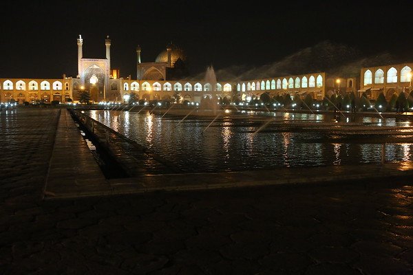 Naqsh-e Jahan Square at night with the Shah Mosque behind.