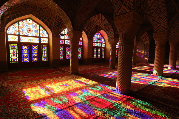 Nasir Al Mulk Mosque also known as the Pink Mosque. The facade includes extensive colored glass resulting in lovely colors when sunny outside.