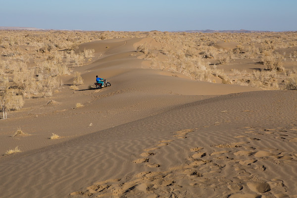 Someone having fun on the dunes with a motorbike.