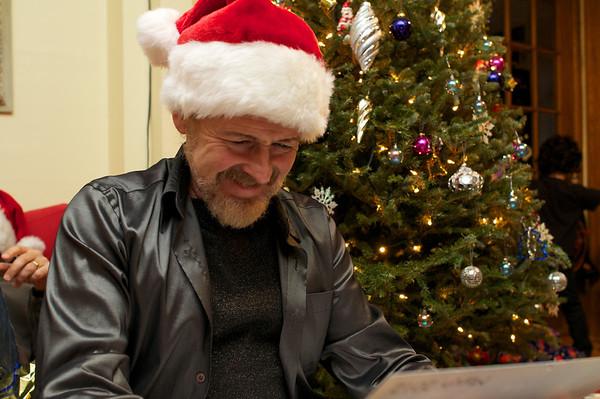 Pierre opening his present