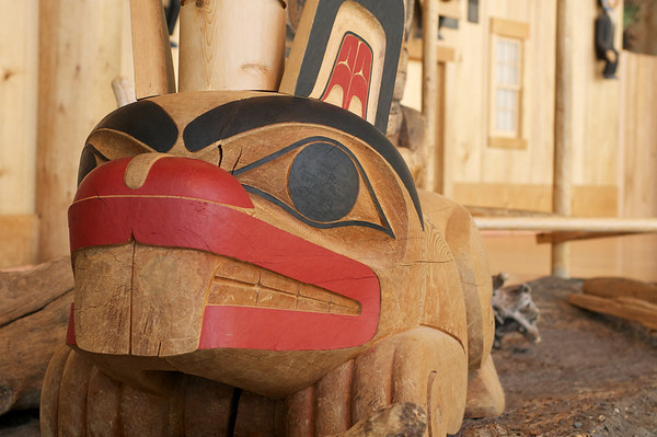 Wood carvings in the First Nation's exhibit at the Canadian Museum of Civilization