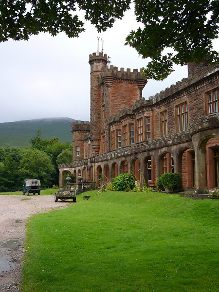 August 2006. Front elevation, Kinloch Castle, on the Isle of Rum in the Small Isles, Inner Hebrides, Scotland.