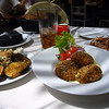 Israel - its all about the food! Latkes, salad and roasted aubergines. Aubergines are now the new bacon for Nick...