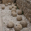 Original Trebuchet (Catapult) stones used in the 1291 siege when the Mamelukes bloody ejected the last Crusader outpost in the Holy Land