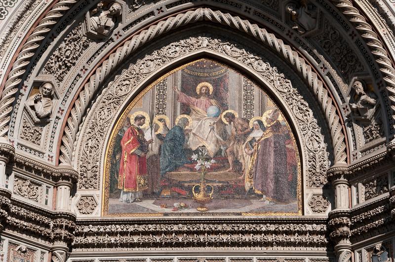 DŽtail de la dŽcoration extŽrieure de la cathŽdrale de Florence.