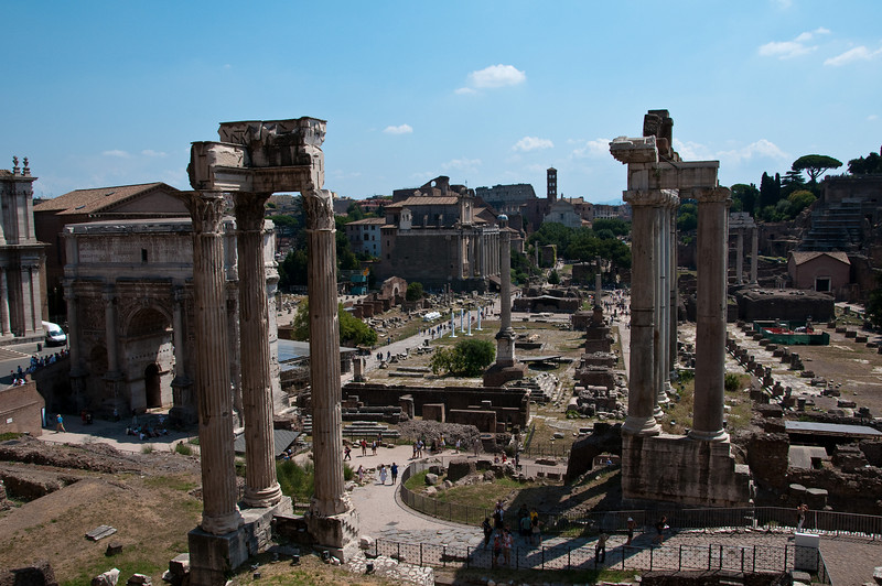 Roman Forum, seen from the capitoline museum. Rome Italy.
