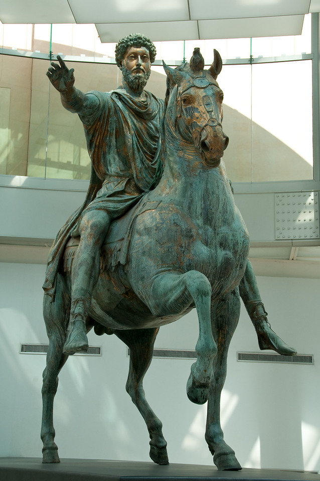 Equestrian statue of Marcus Aurelius (161-180 AD) probably errected in 176 (along with other honnors paid to the emperor for his victories over the Germanic peoples) or in 180 shortly after his death. Capitoline Museums, Rome Italy