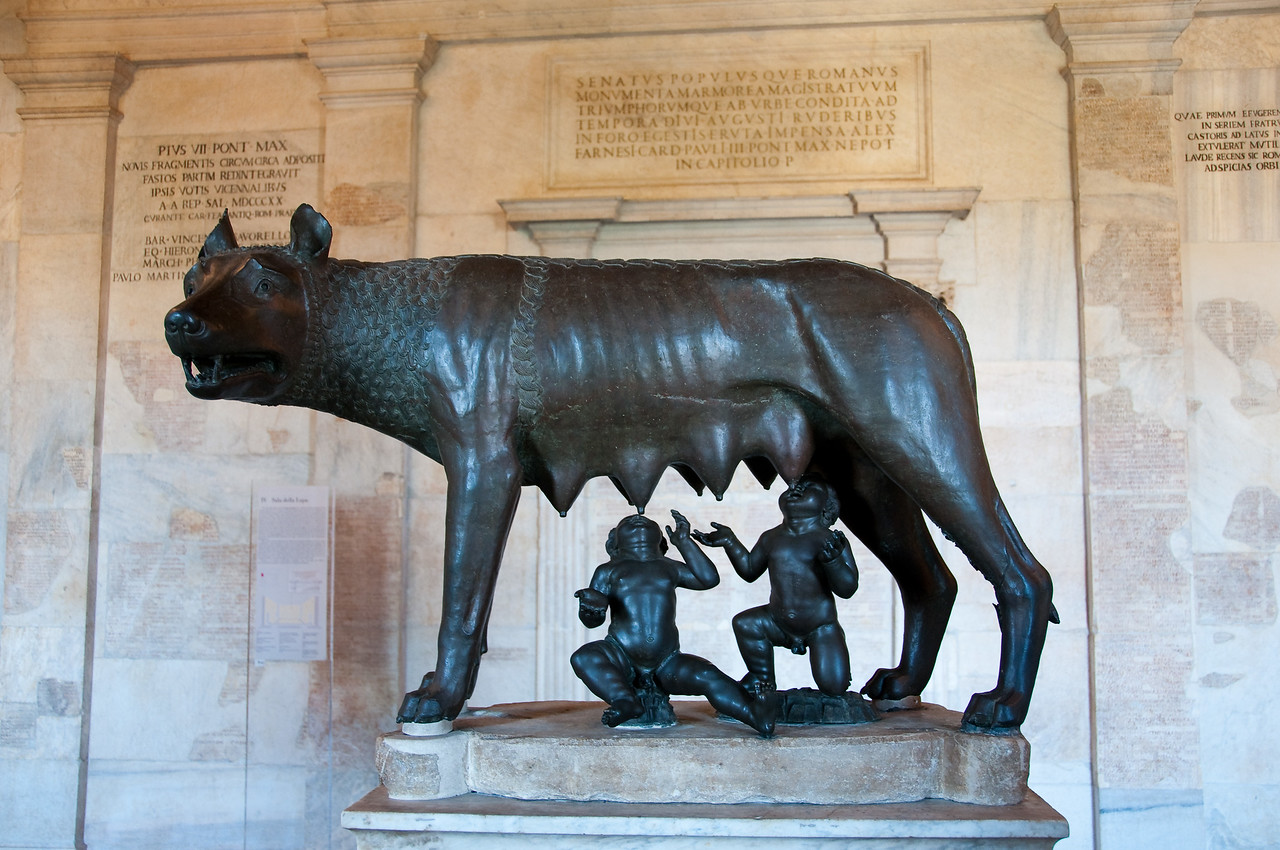 "Capitoline Wolf. This statue of a she-wolf is supposed to date back to the IVth or V th century BC, the twins (Romulus and Remus have been added in the late XV th century. Apparently, the statue is not as old as it it thought according to this <a href=""http://news.bbc.co.uk/2/hi/europe/7499469.stm"">BBC article</a>. As of august 2010, the museum's official version still states that the statue is an authentic Etruscan work.  Capitoline museum, Rome Italy."
