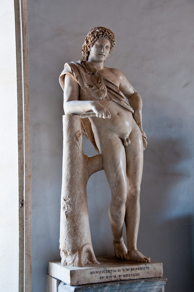 Statue of a resting satyre. Capitoline Museums, Rome Italy.