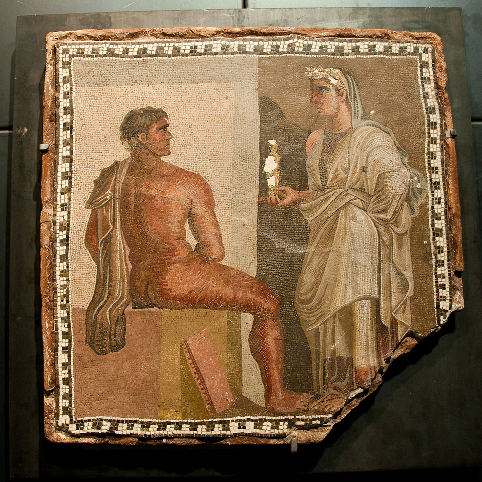An incredibly beautiful mosaic laid upon a terra-cotta support. It is dated between the second and the third century AD. Capitoline Museums, Rome Italy.
