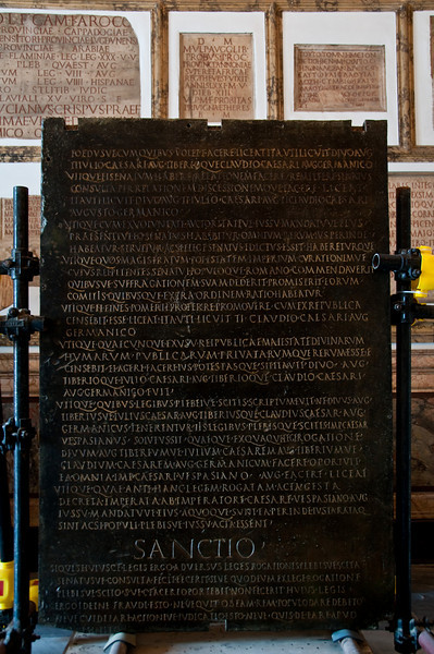 Bronze slab with the Law on the power of Vespasian. Capitoline Museums, Rome Italy.