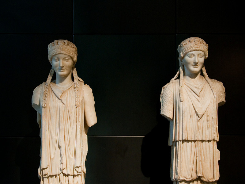 These Beautiful statues sculpted in an archaïc style date from the Augustine age (5th century AD). Capitoline Museums Rome Italy