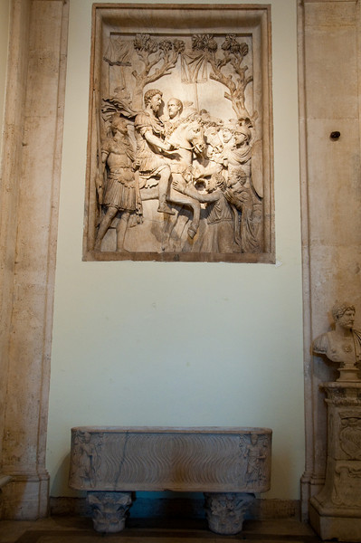 """Imperial Clemency"": the emperor is represented on  horse back, his right arm outstretched showing mercy for the conquered people. This relief is from the triumphal Arc dedicated to Marcus Aurelius to the occasion of its victory over the Sarmatians and Germans (176 A.D.). Musei capitolini, Rome, Italy."