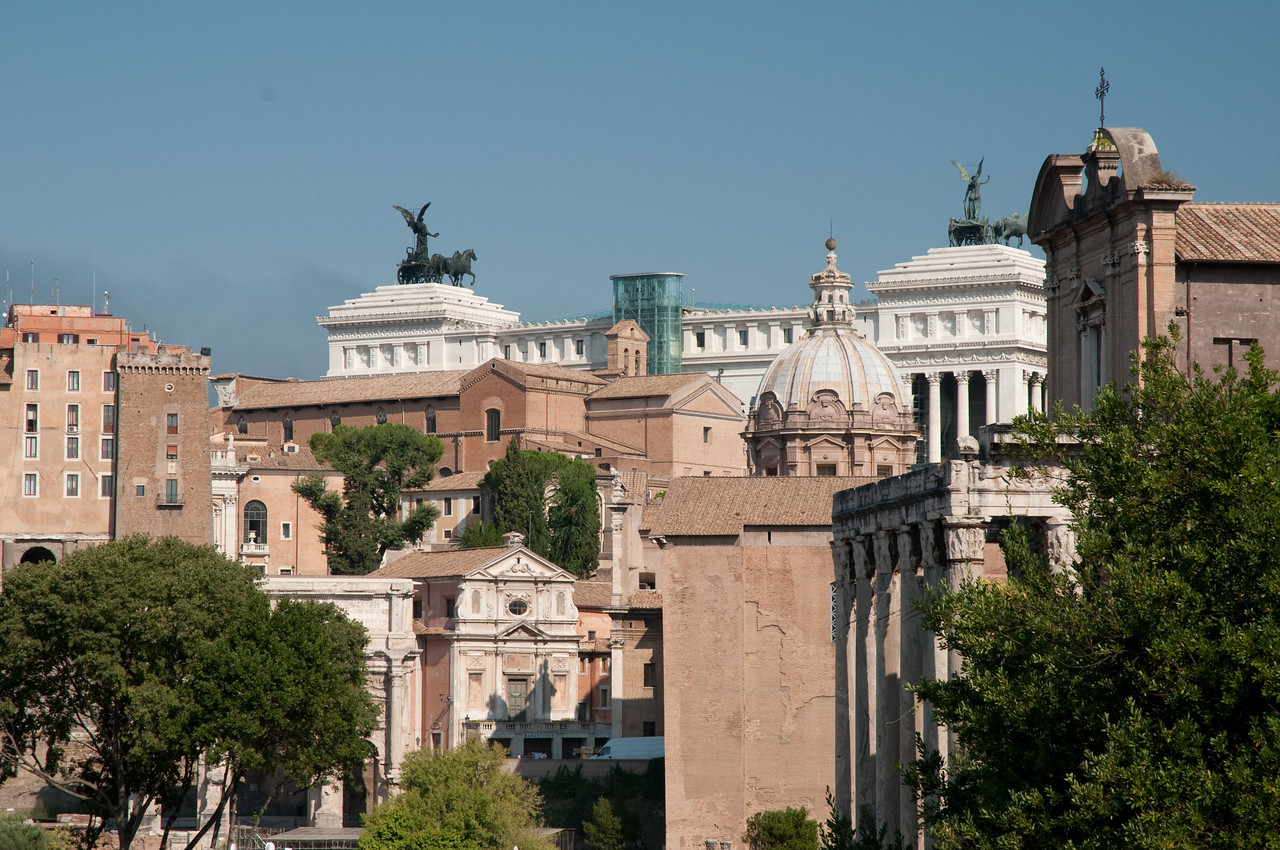 palatine hill, seen from the roman forum, Rome, Italy