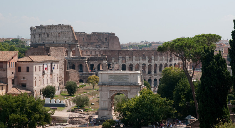 The colosseum, picture taken from the palatino, Rome Italy