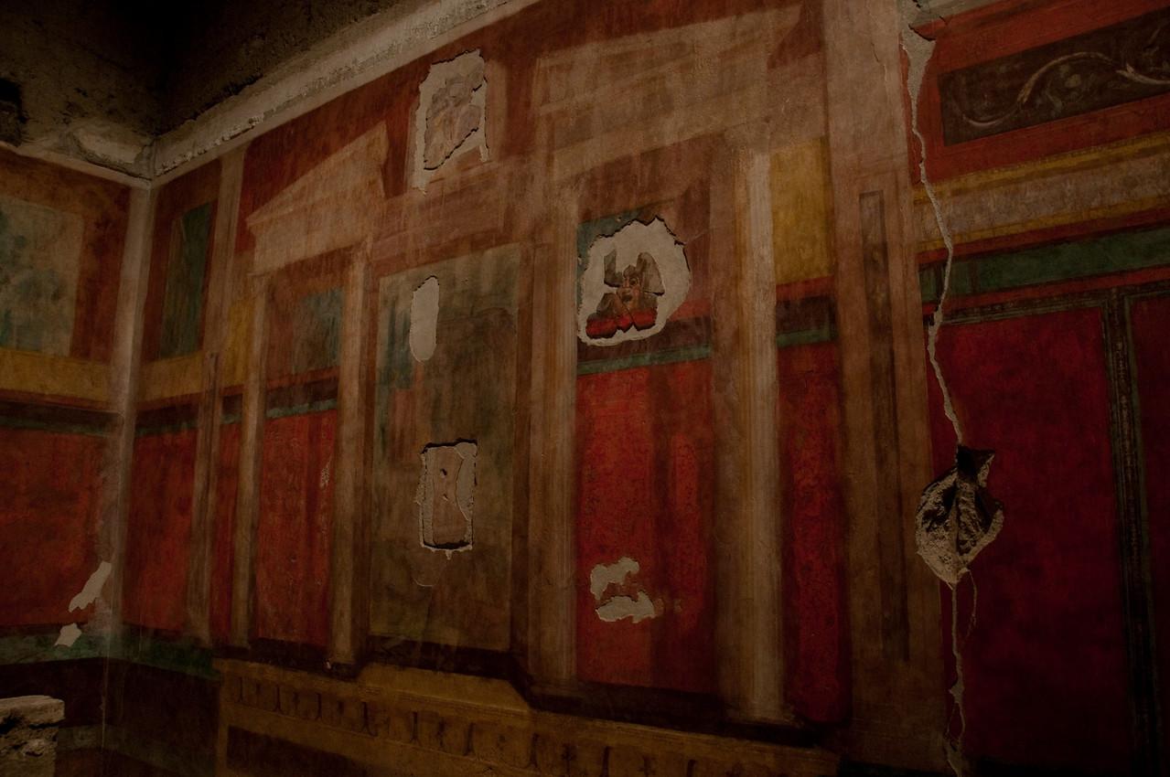 Roman Frescoes, Domus Augustana, palatino, Rome Italy.
