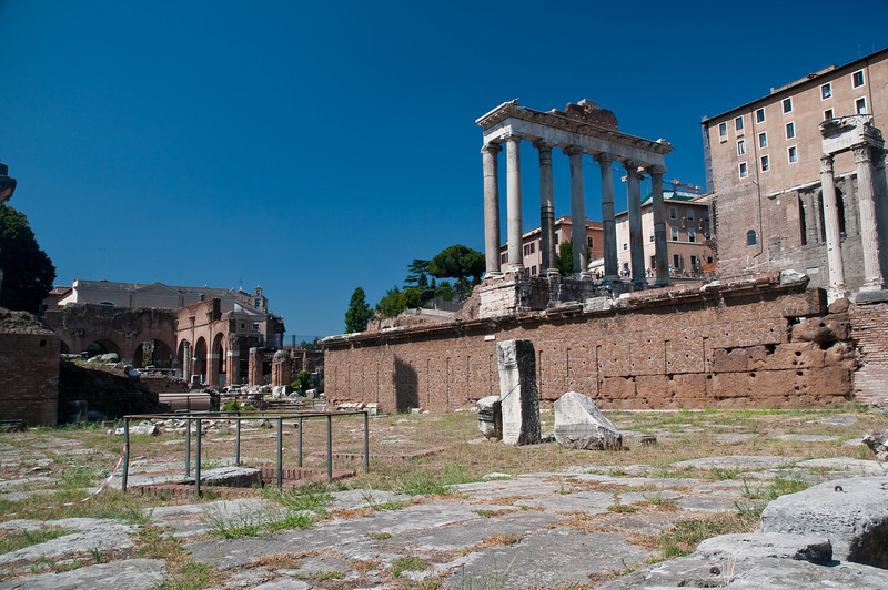 Roman Forum with the columns of the Temple of Saturn, Rome, Italy