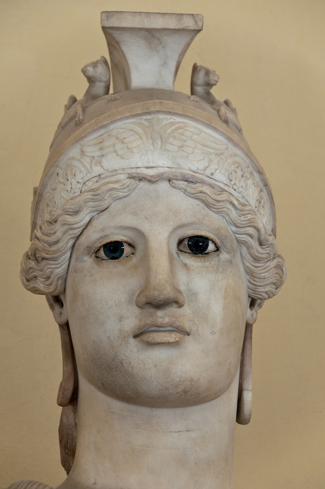 Minerva (The most beautiful eyes i've seen during the whole journey to italy). Muesum of the vatican. This head was part of an acrolith statue dating to the time of Hadrian. An acrolith is a statue in which only the naked parts are made of marble, the rest being of an other material.