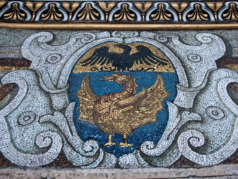 closeup of a mosaic at the base of the dome of, St. Peter's Basilica, Vatican.