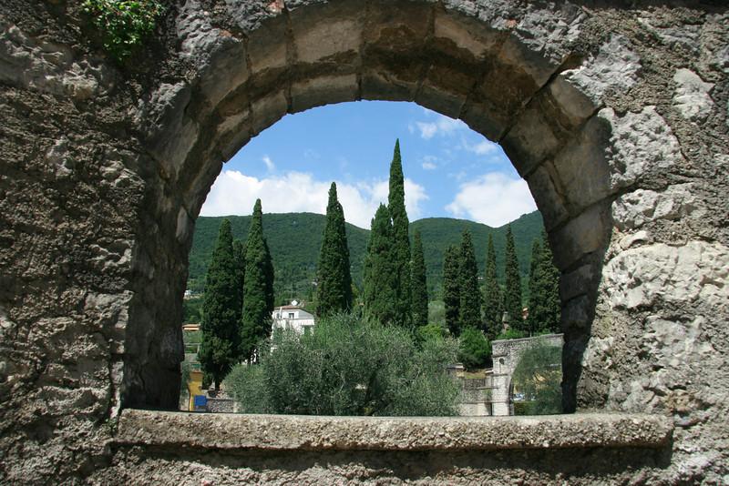 Vittoriale as seen through the church wall