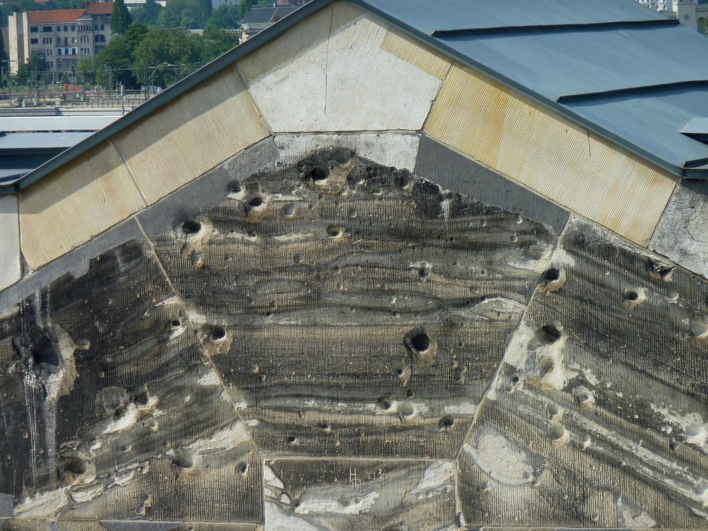 The bullet holes in the old Reichstag building