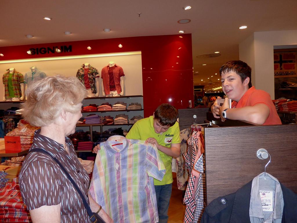 Picking a shirt for Grandad in KaDeWe