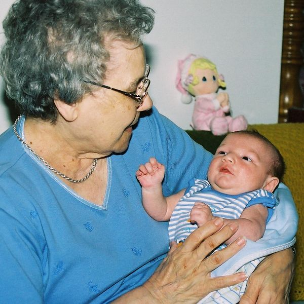 "<font size=""3"">Jacob and Great Grandma</font>"