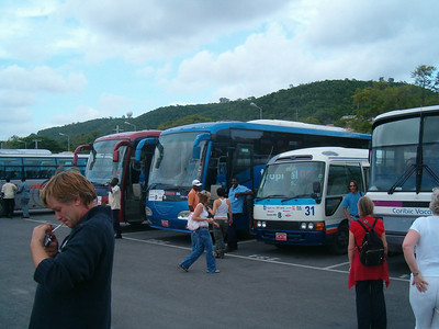 The buses taking the plane load to their hotels.