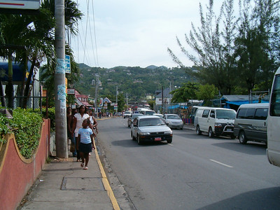 Later the same afternoon after the torrential downpour we took a trip to Ocho Rios. The main street.