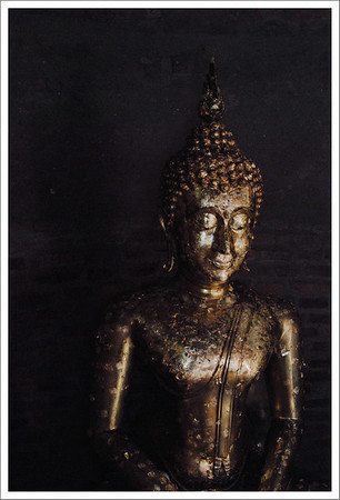 Pilgrims and tourists purchased small pieces of gold leaf and pressed it onto this statue.