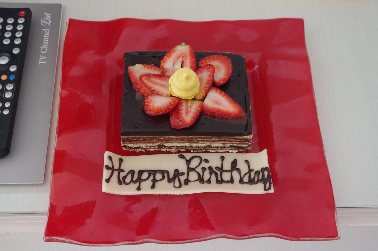 Födelsedagstårta, bjudning från hotellet